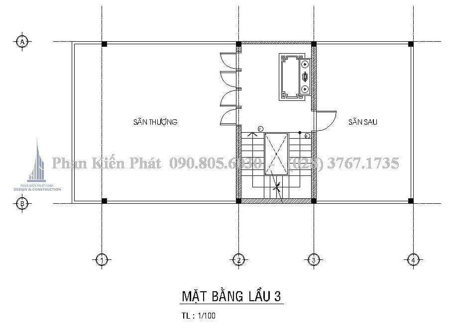 Mặt bằng lầu 3 trong mẫu thiết kế biệt thự mái thái đẹp
