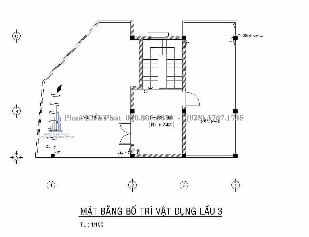 Mặt bằng lầu 3 của mấu thiết kế nhà phố kết hợp phòng trọ cho cho thuê