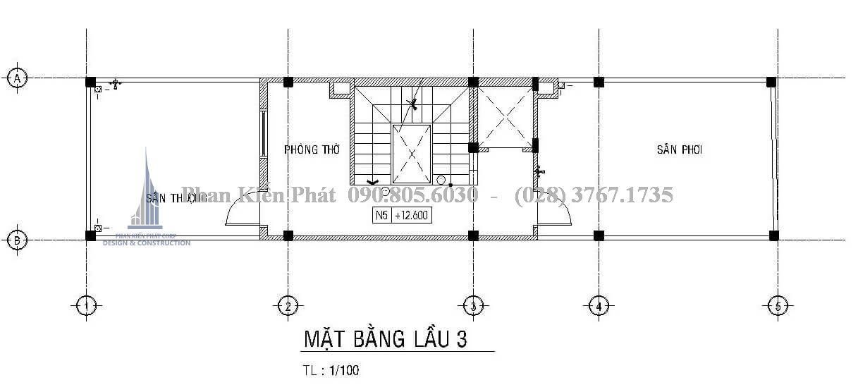 Mặt bằng công năng lầu 3 của mẫu thiết kế nhà phố 1 trệt 3 lầu hiện đại