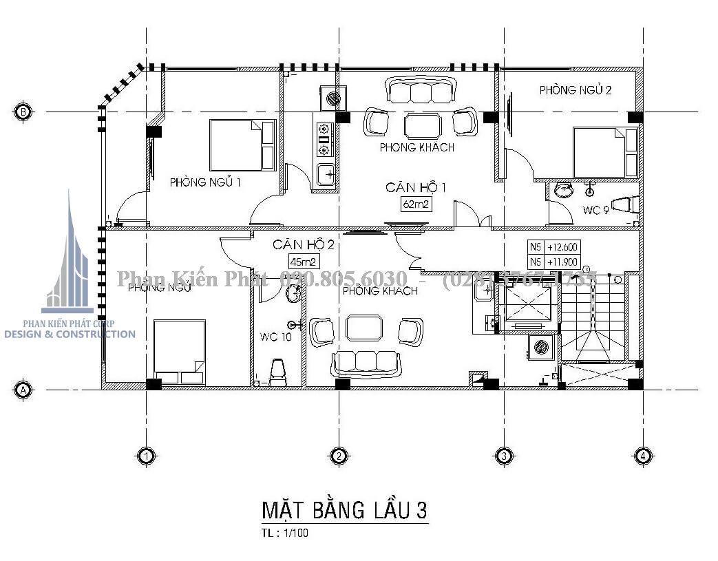 Mặt bằng lầu 3 cho thuê 2 căn hộ với diện tích 45m2