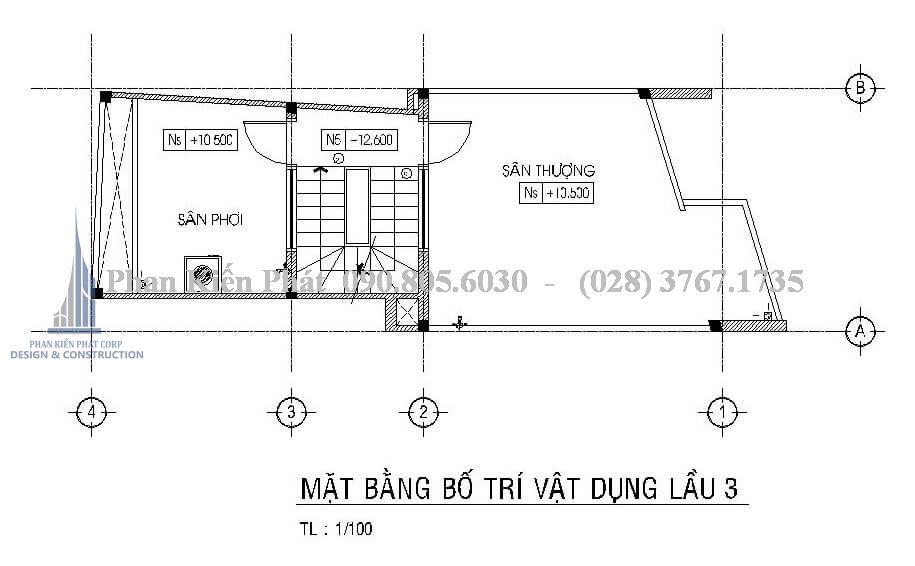 Bản vẽ thiết kế nhà ống kinh doanh tầng 4