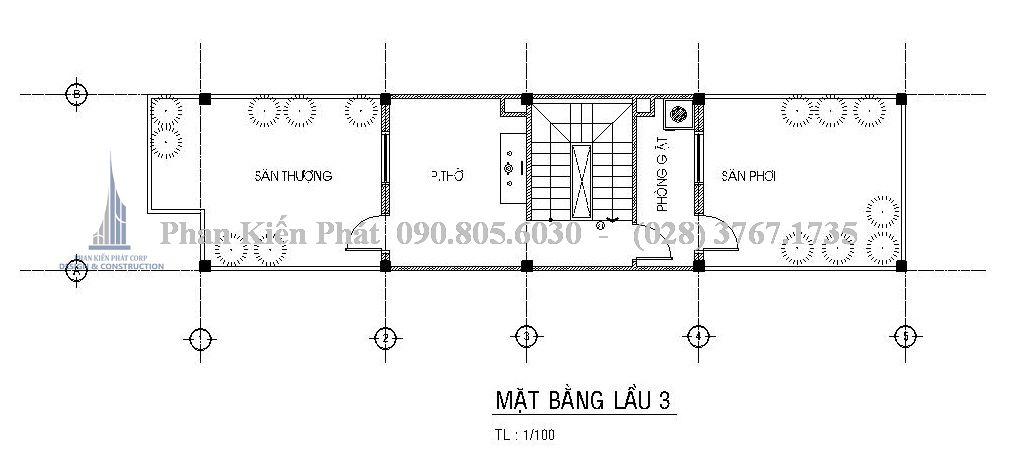Mặt bằng tầng 4 - Mẫu thiết kế nhà phố 5 tầng kết hợp với kinh doanh
