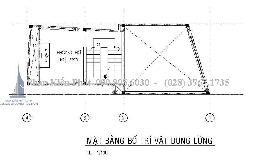 Bố trí công năng mặt bằng tầng lửng nhà phố 1 trệt 2 lầu sân thượng