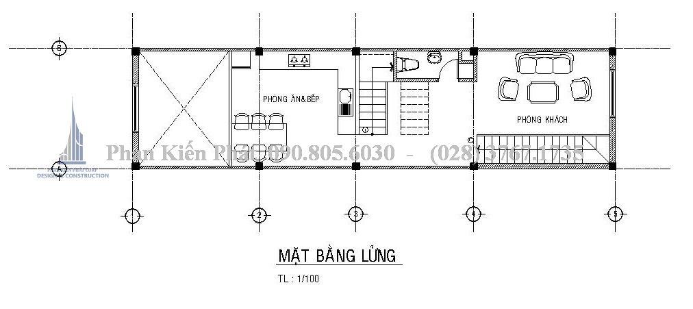 Mặt bằng tầng lửng - Mẫu thiết kế nhà phố 5 tầng kết hợp với kinh doanh