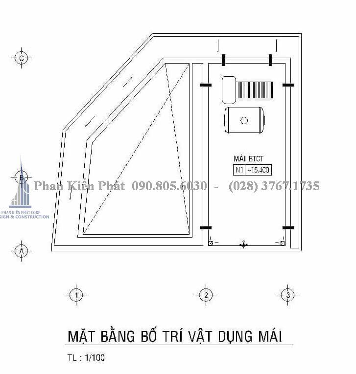 Mặt bằng mái của mấu thiết kế nhà phố kết hợp phòng trọ cho cho thuê