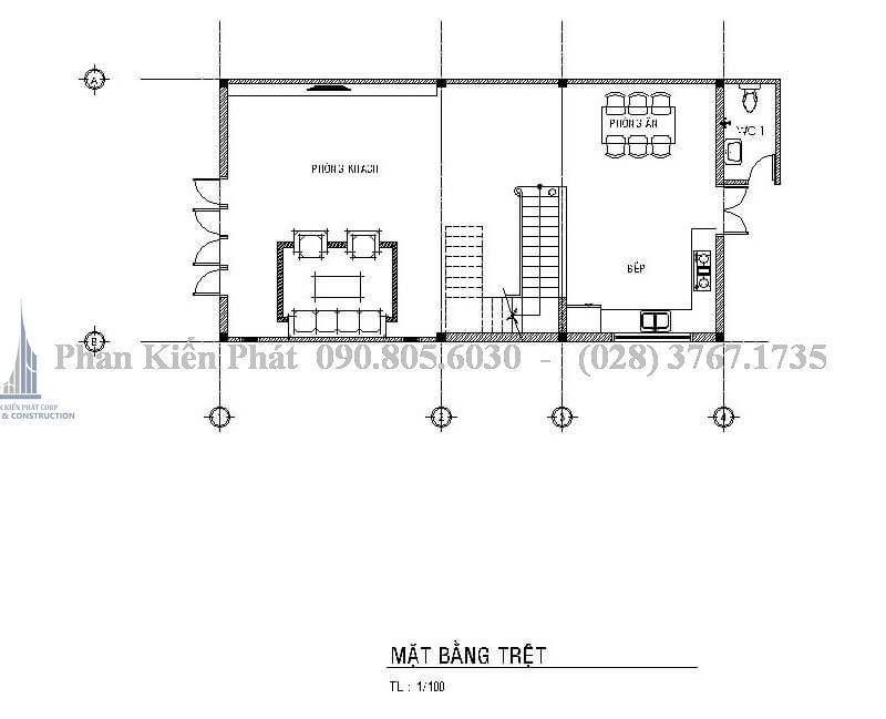 Mặt bằng trệt trong mẫu thiết kế biệt thự mái thái 1 trệt 3 lầu đẹp