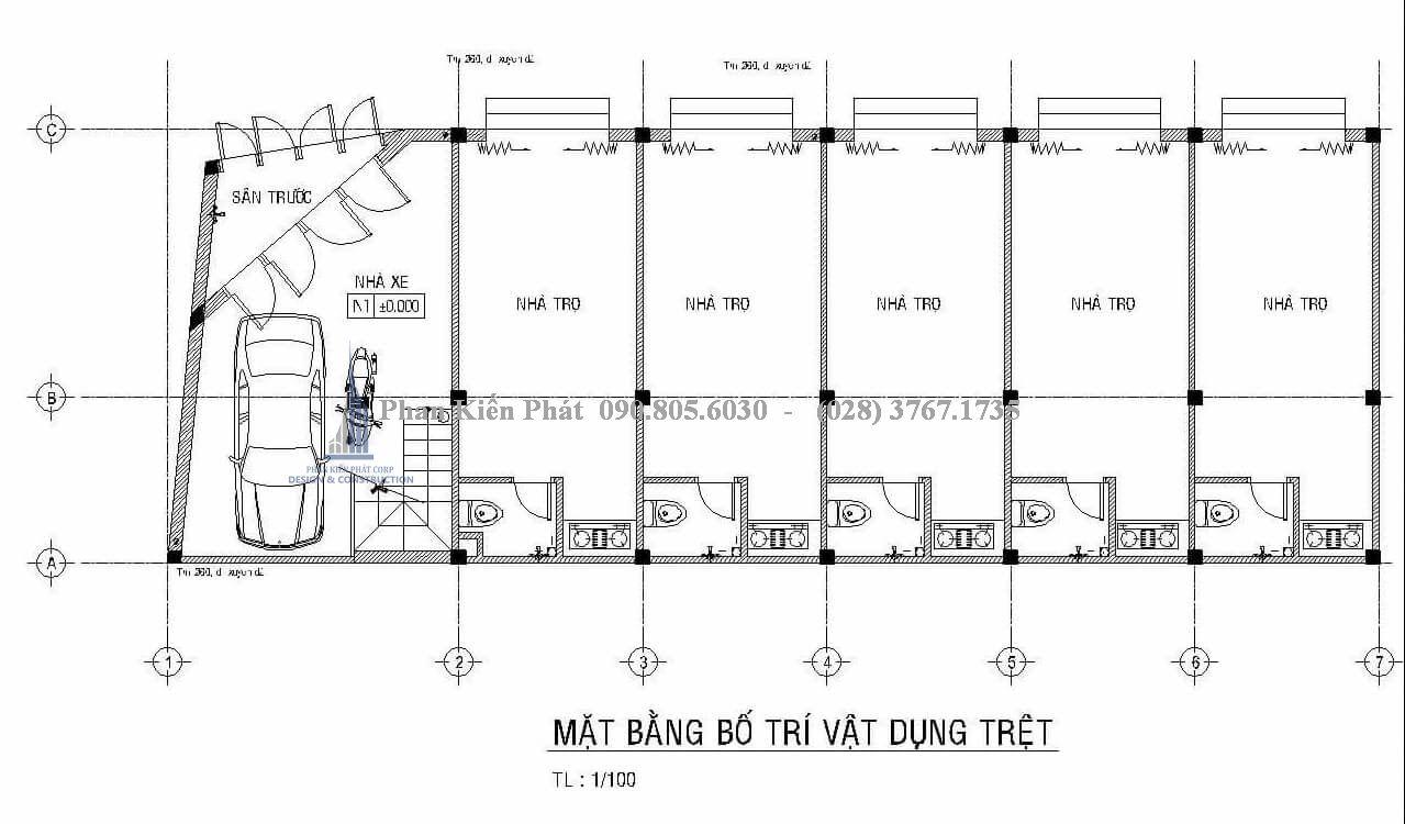 Mặt bằng trệt của mẫu thiết kế nhà phố kết hợp phòng trọ cho cho thuê