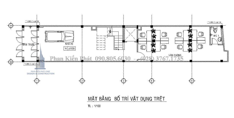 Mặt bằng công năng tầng trệt của mẫu thiết kế nhà phố 1 trệt 3 lầu hiện đại
