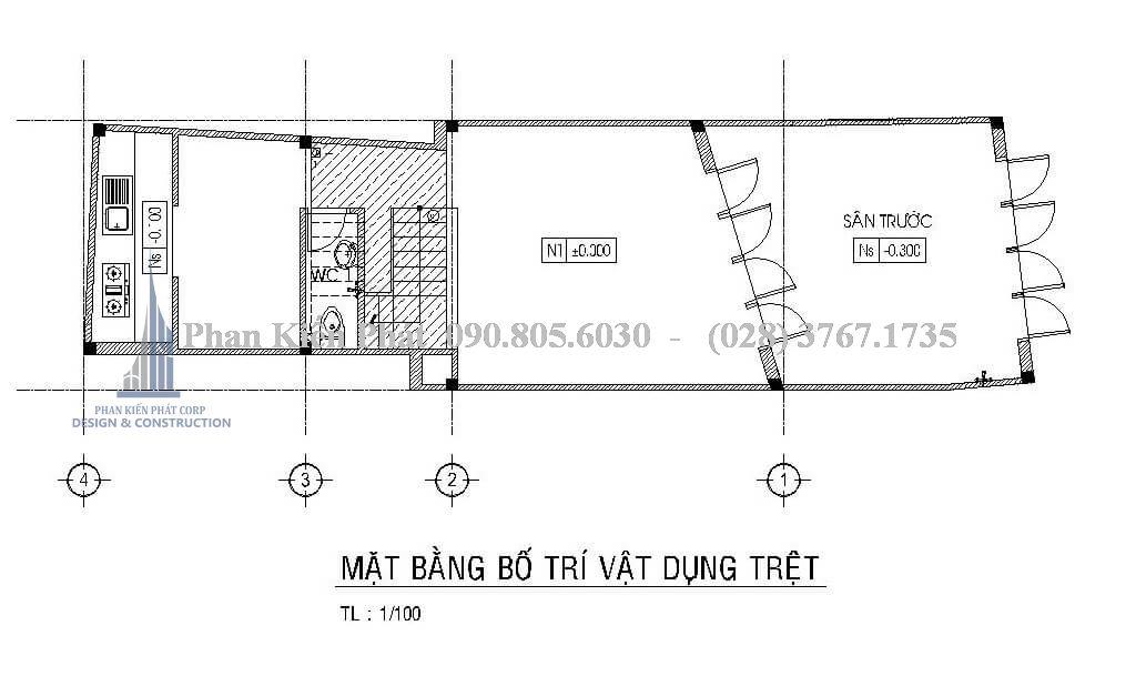 Bản vẽ thiết kế nhà ống kinh doanh tầng 1
