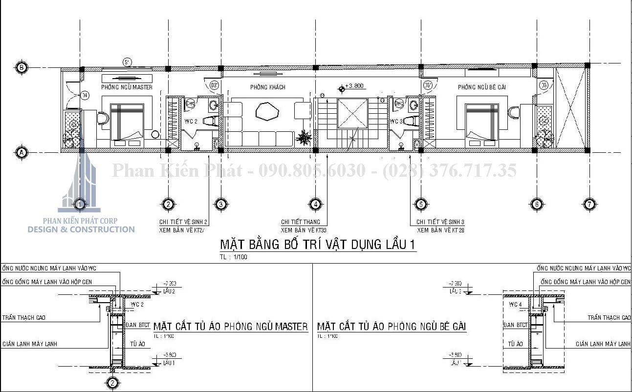 Mặt bằng lầu 1 mẫu nhà 1 trệt 3 lầu sân thượng