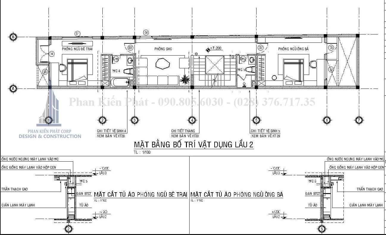 Mặt bằng lầu 2 mẫu nhà 1 trệt 3 lầu sân thượng đẹp