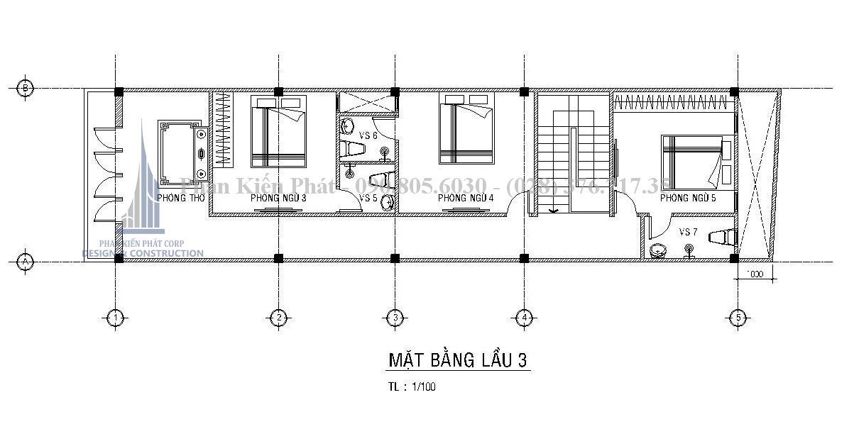 Bản vẽ bố trí mặt bằng nhà phố 1 trệt 3 lầu kết hợp kinh doanh