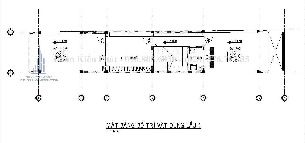 Mặt bằng sân thượng mẫu nhà 1 trệt 3 lầu sân thượng đẹp kết hợp phòng khám