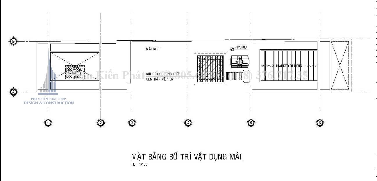 Mặt bằng mái mẫu nhà 1 trệt 3 lầu sân thượng đẹp kết hợp phòng khám