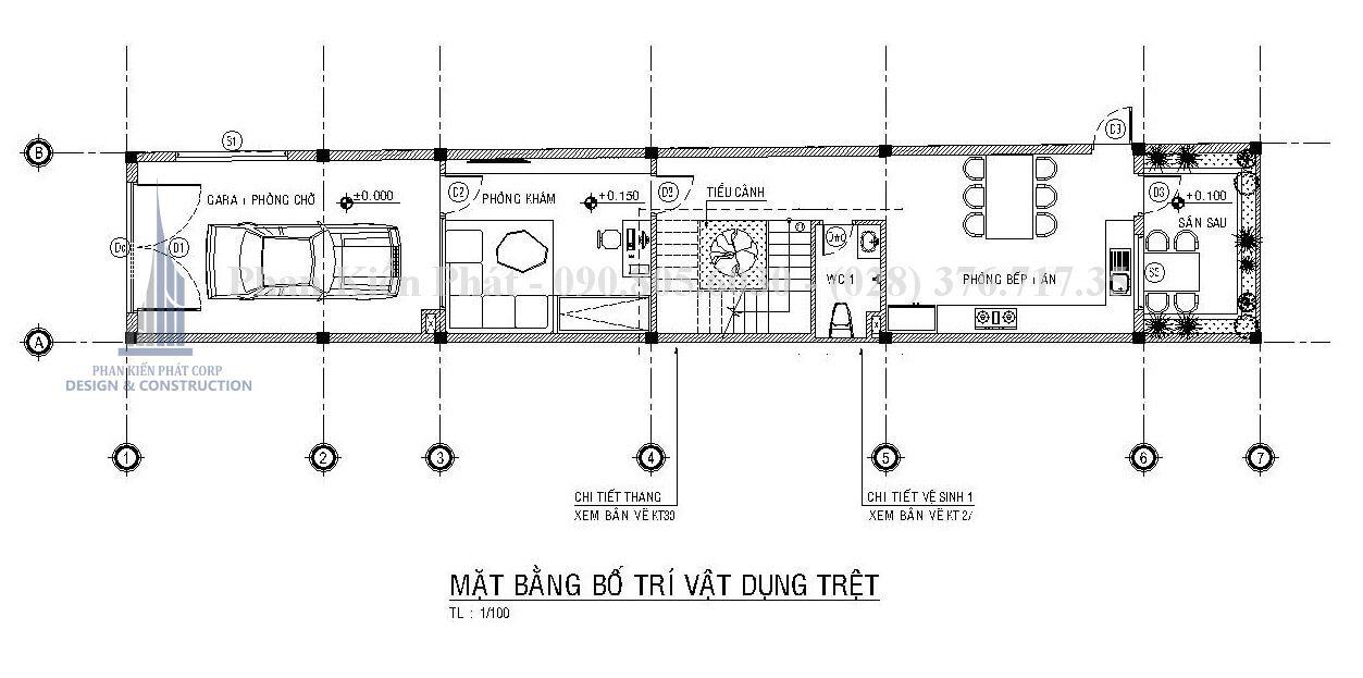 Mặt bằng trệt mẫu nhà 1 trệt 3 lầu sân thượng