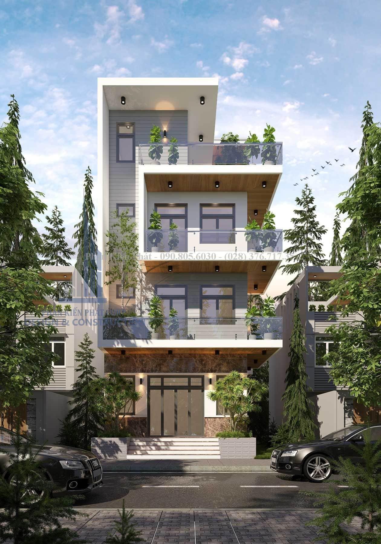 Mẫu thiết kế biệt thự 4 tầng hiện đại