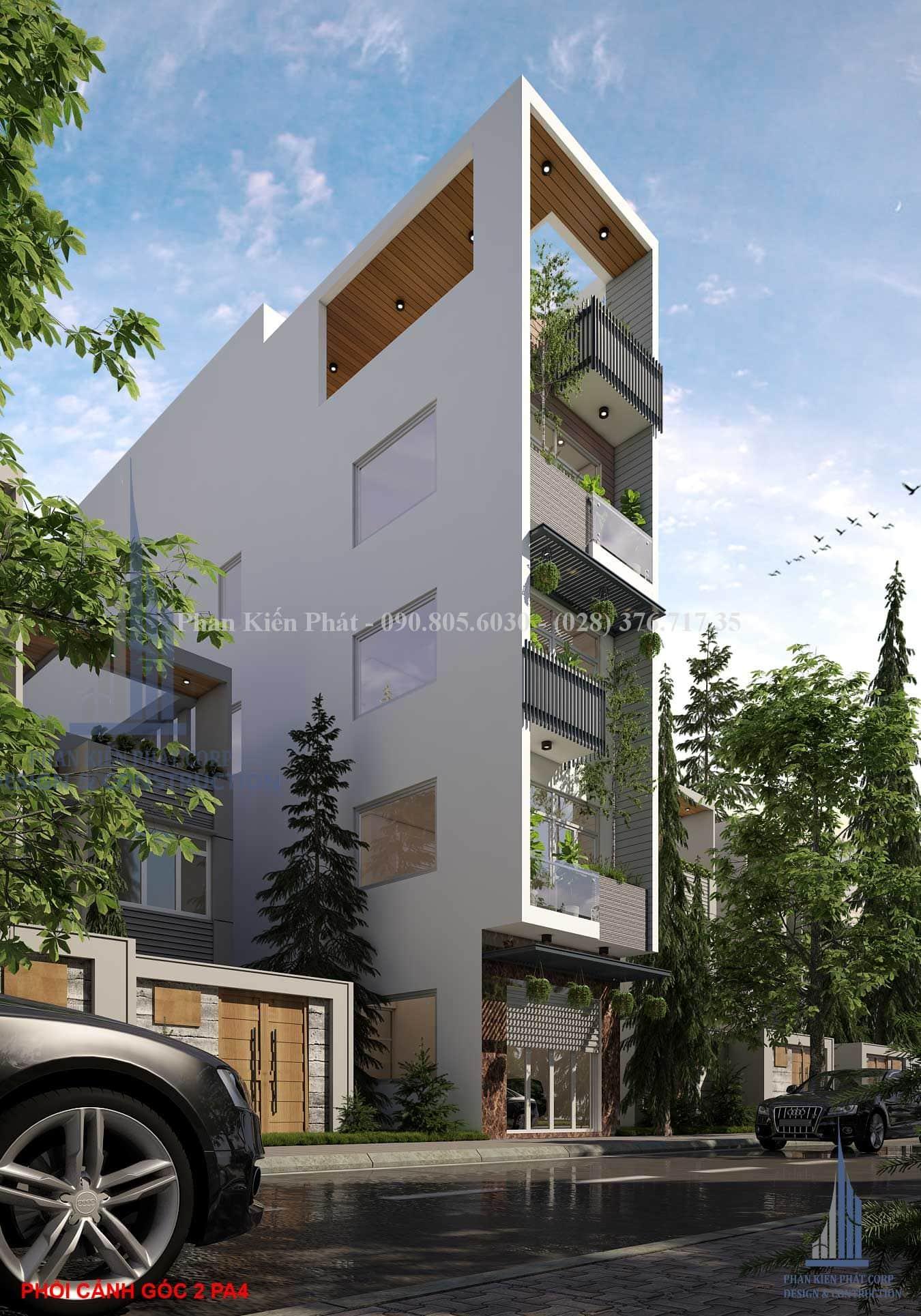 Phối cảnh mặt tiền nhà phố 1 trệt 3 lầu, sân thượng tại Gò Vấp