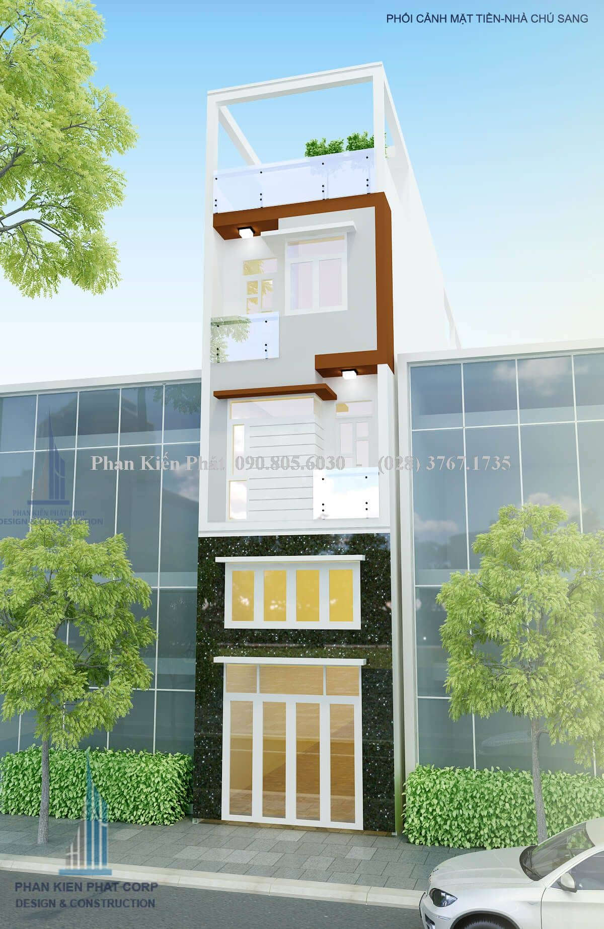 Phối cảnh mặt tiền của mẫu thiết kế nhà phố 1 trệt 3 lầu hiện đại