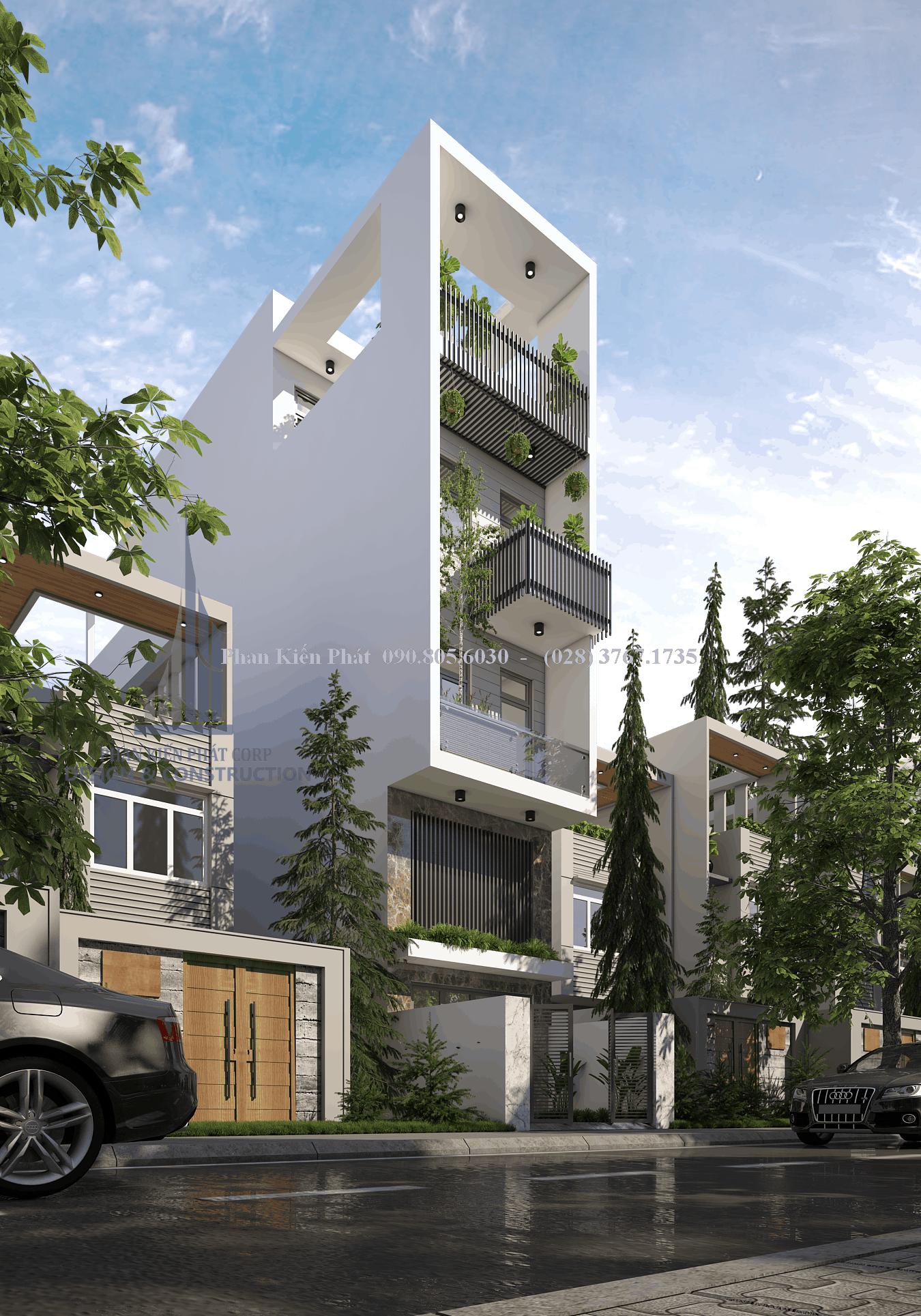 Mẫu thiết kế nhà phố 5 tầng mặt tiền 4m kết hợp kinh doanh view 2