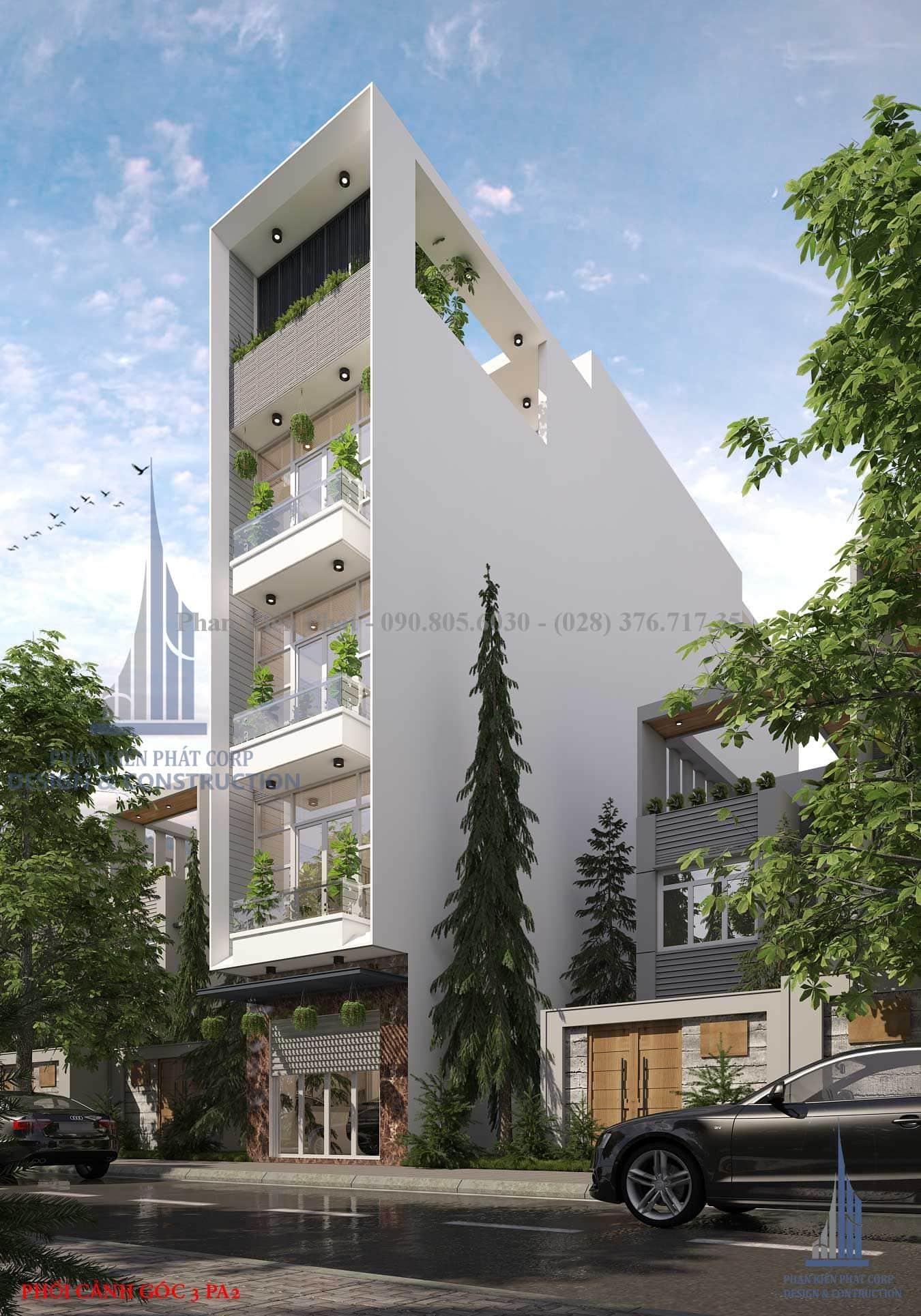 Phối cảnh nhà phố 5 tầng hiện đại mặt tiền 4m view 3