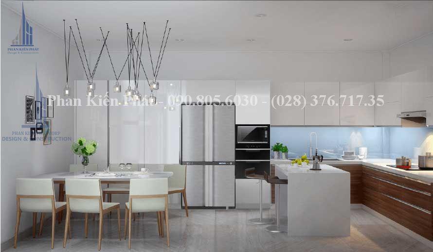 Nhà bếp tiện nghi trong thiết kế biệt thự phố 4 tầng