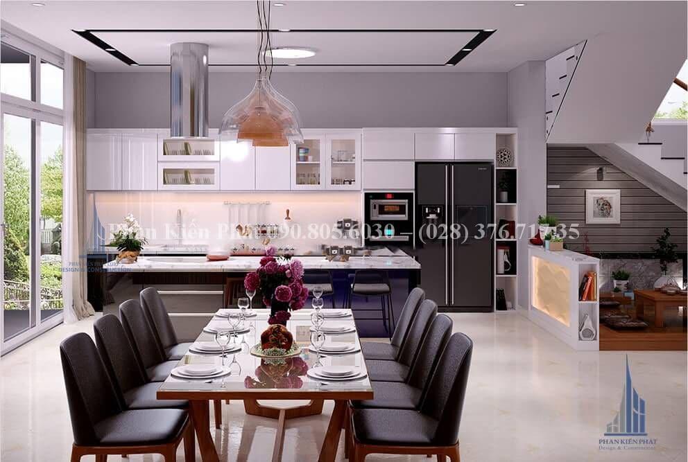 Nội thất phòng bếp mẫu nhà phố đẹp mặt tiền 5m