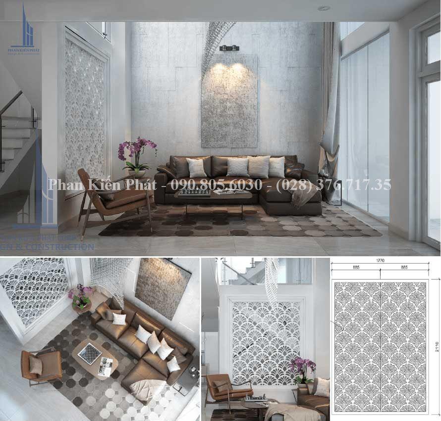 Nội thất trong phòng khách trong thiết kế biệt thự phố - view 1
