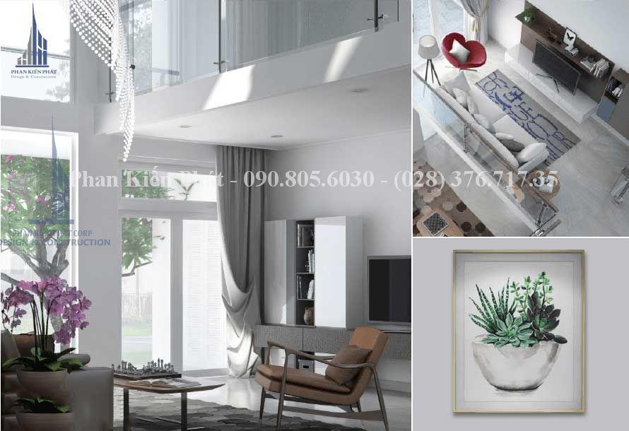 Nội thất trong phòng khách trong thiết kế biệt thự phố - view 2