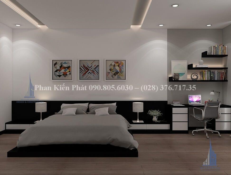 Nội thất phòng ngủ trong mẫu thiết kế nhà mặt tiền 5m