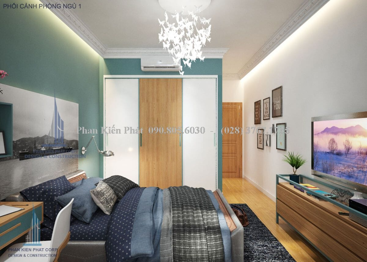 Phối cảnh phòng ngủ số 1 nhà ống 4 tầng