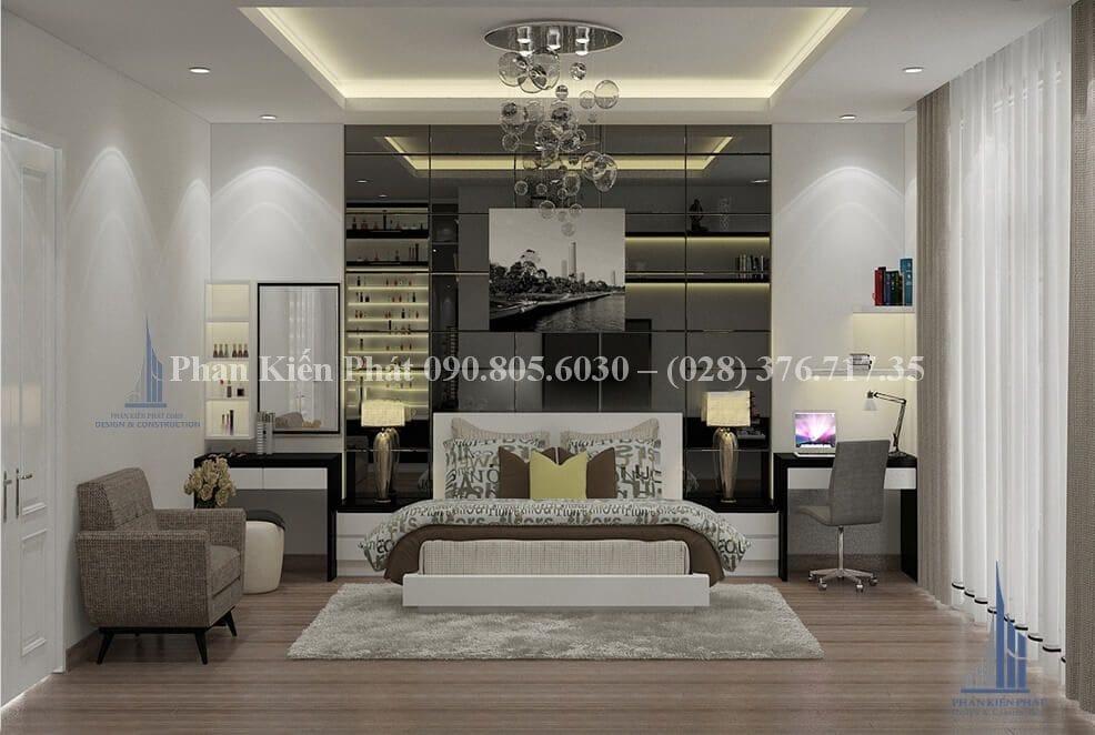 Nội thất phòng khách trong mẫu nhà phố 4 lầu kết hợp với kinh doanh