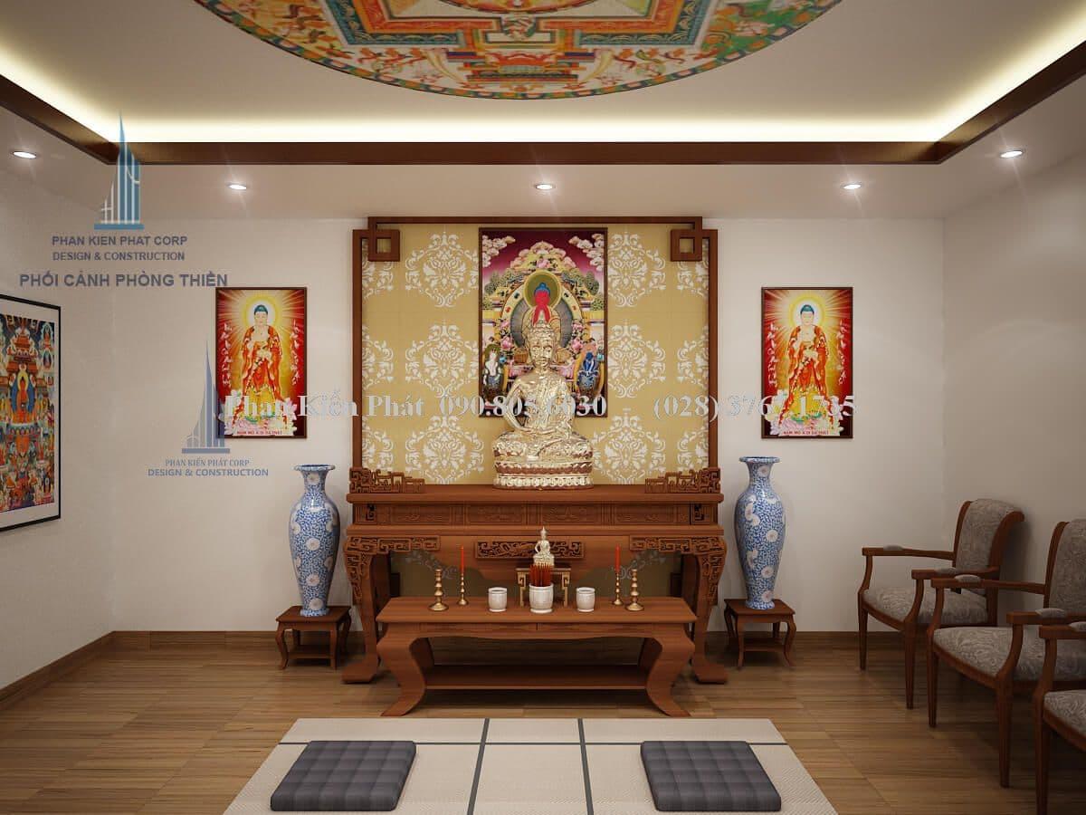 Nội thất phòng thờ kết hợp với ngồi thiền view 1