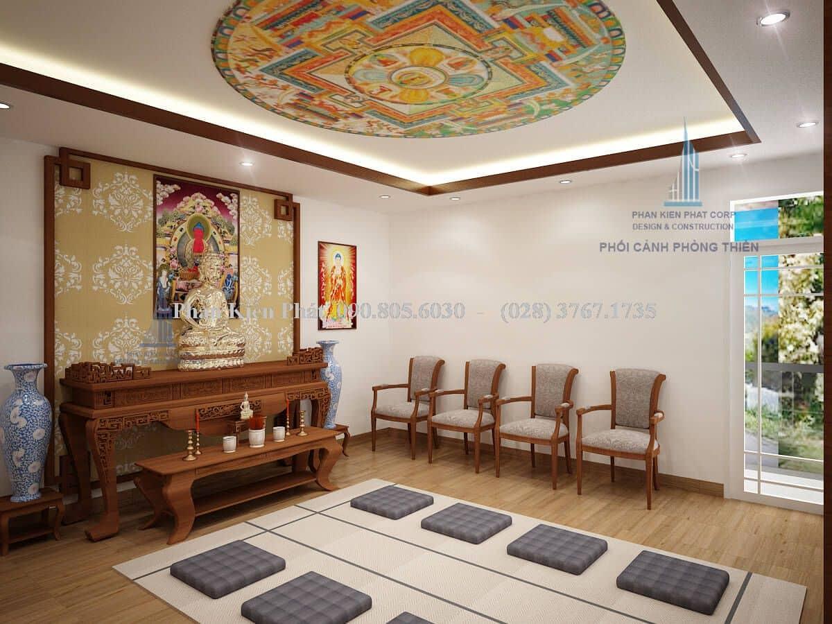 Nội thất phòng thờ kết hợp với ngồi thiền view 2