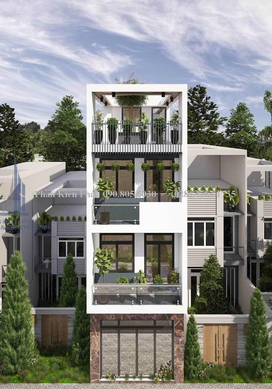 Phong cách mặt tiền hiện đại nhà phố 4 tầng