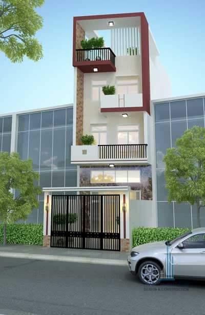 Thiết kế nhà phố 1 trệt 2 lầu sân thượng