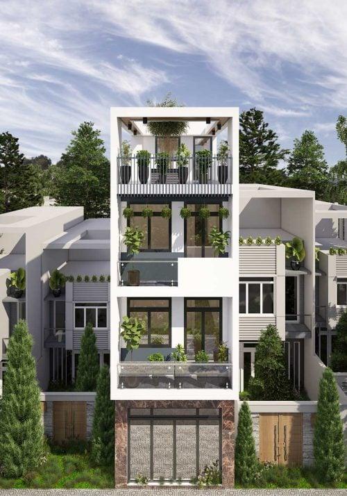 thiết kế nhà phố hiện đại 4 tầng