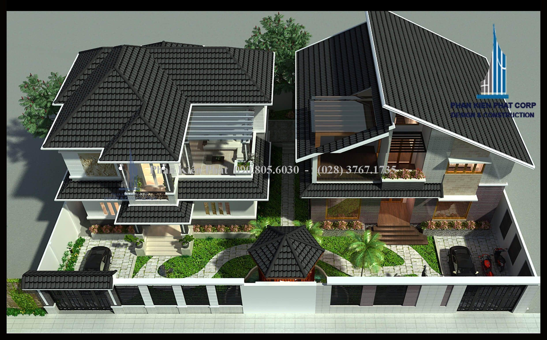 Phối cảnh tổng thể sân vườn của ngội biệt thự 2 tầng mái thái đẹp ở Đà Lạt