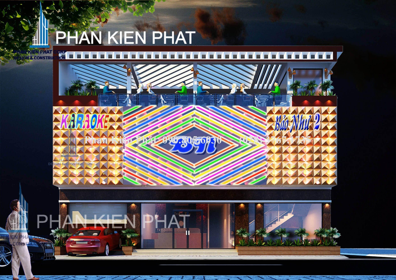 Phối cảnh mặt tiền quán karaoke vip