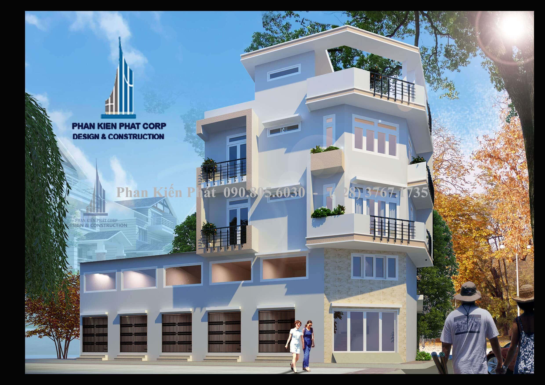 Phối cảnh nhà phố kết hợp phòng cho thuê cao 1 trệt 1 lửng 3 lầu tại Bình Tân