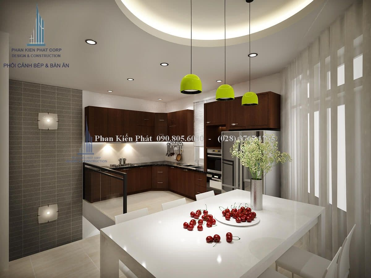 Nội thất phòng bếp kết hợp với phòng ăn hiện đại tinh tế