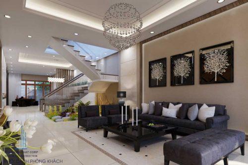 Thiết kế nội thất nhà ống 2 tầng đẹp chị Liên