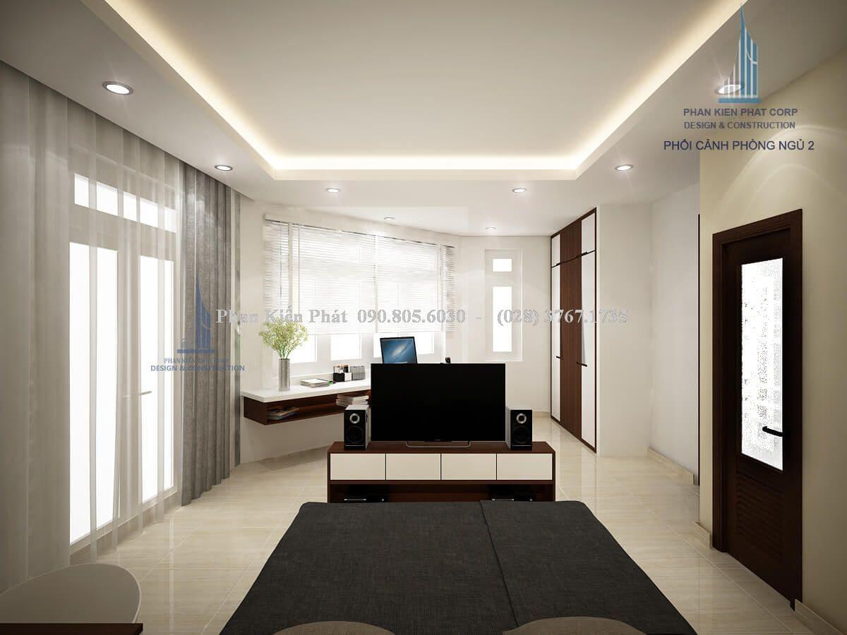 Thiết kế phòng ngủ cho vợ chồng theo phong cách hiện đại với tông màu trắng - đen chủ đạo