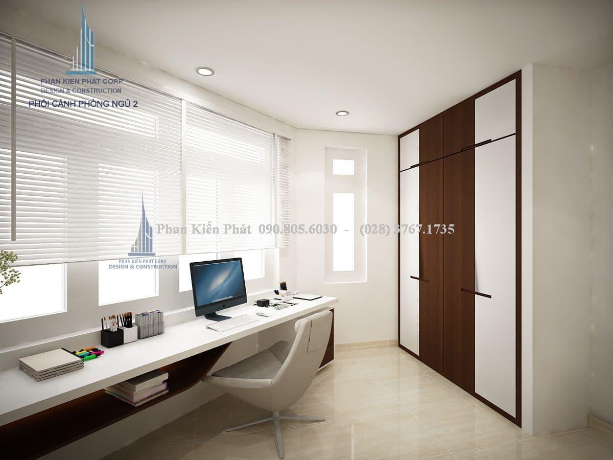 Thiết kế nội thất phòng ngủ kết hợp phòng đọc sách