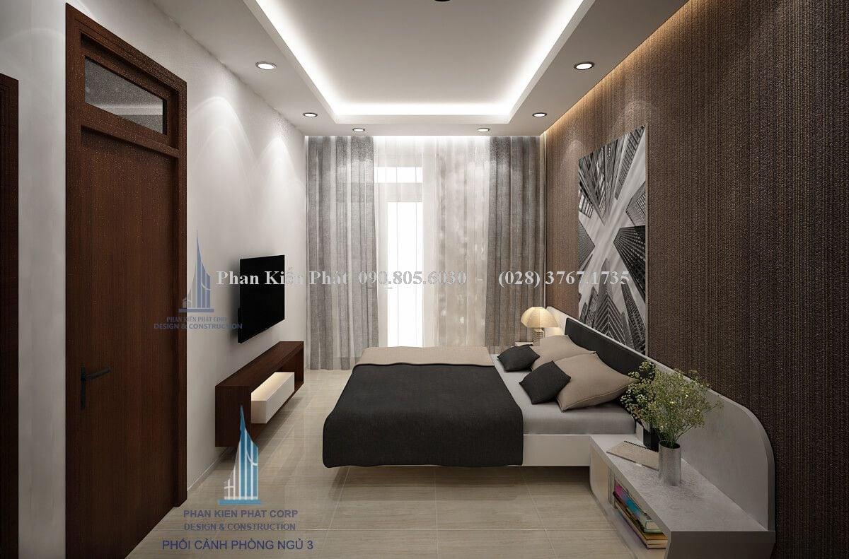 Phòng ngủ với tông màu trung tính tạo nên một không gian sang trọng theo phong cách hiện đại