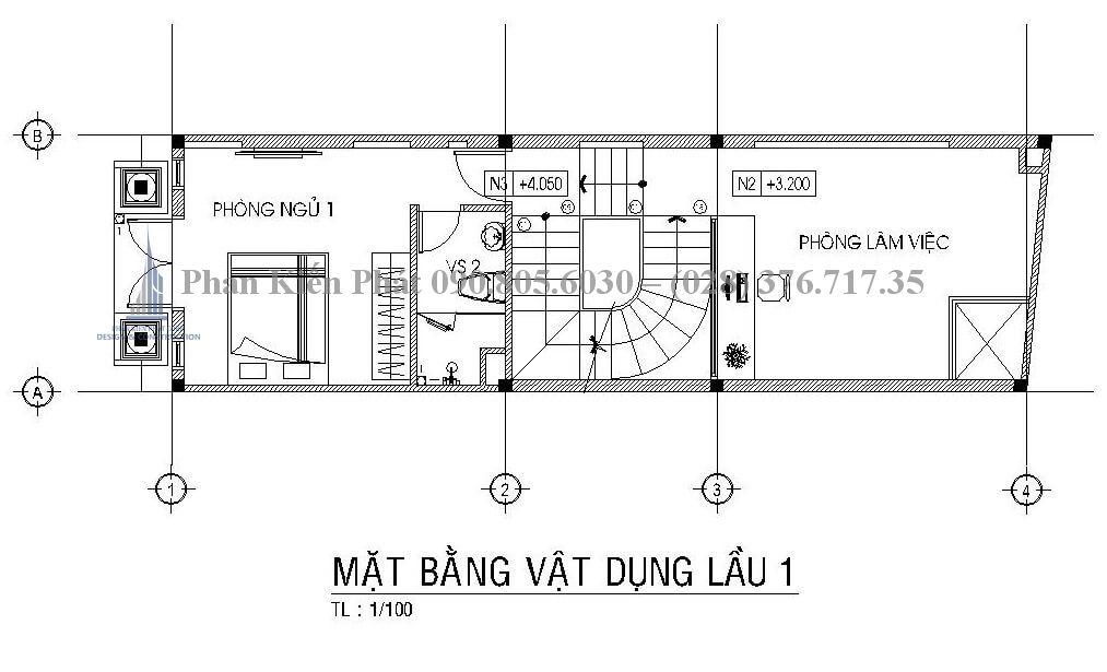 Mặt bằng lầu 1 thiết kế nhà phố 1 trệt 4 lầu