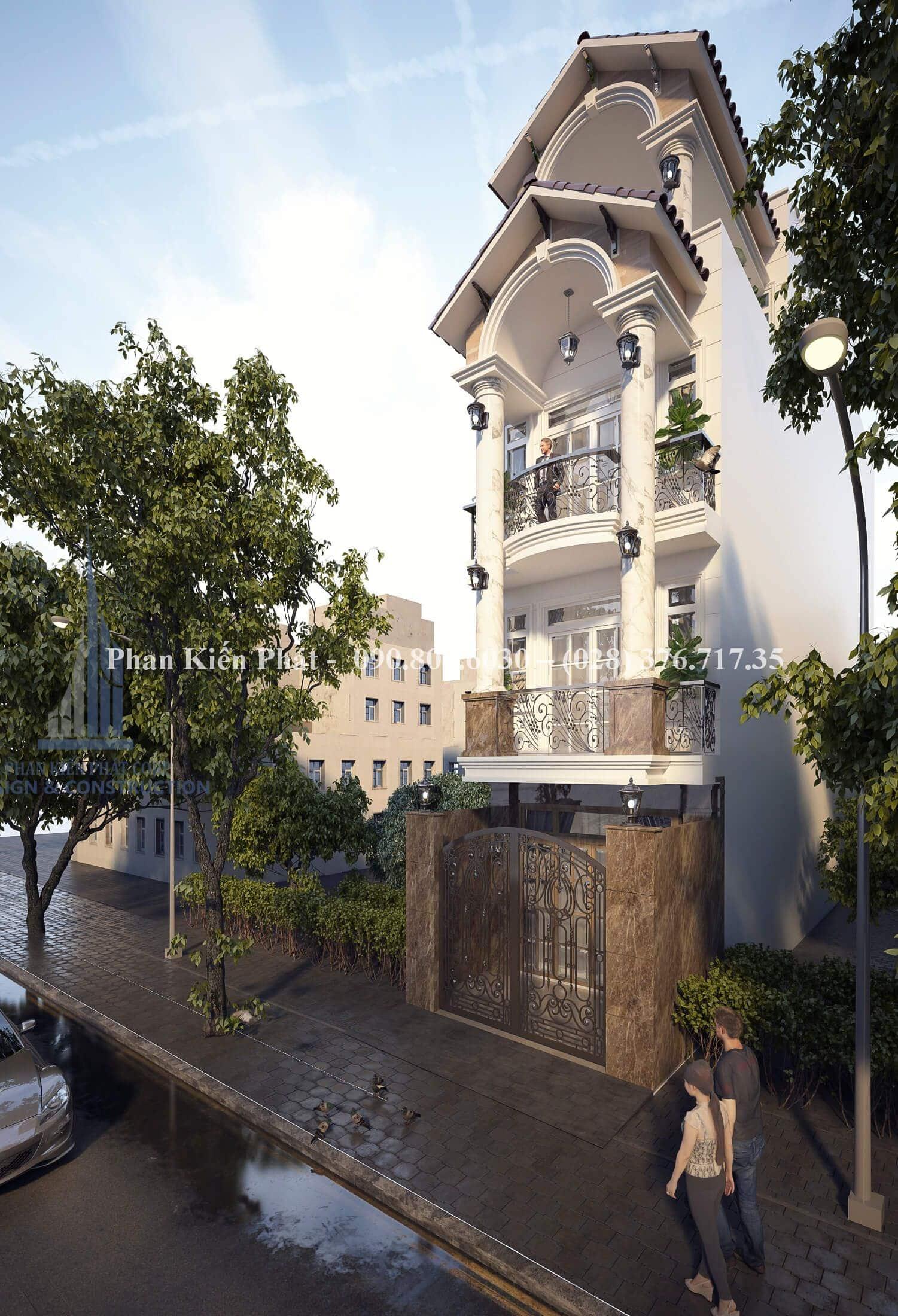 Mau Thiet Ke Nha Pho Tan Co Dien 4 Tang Dep View 3