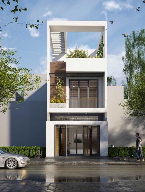 Mẫu nhà phố 1 trệt 2 lầu mang một không gian xanh