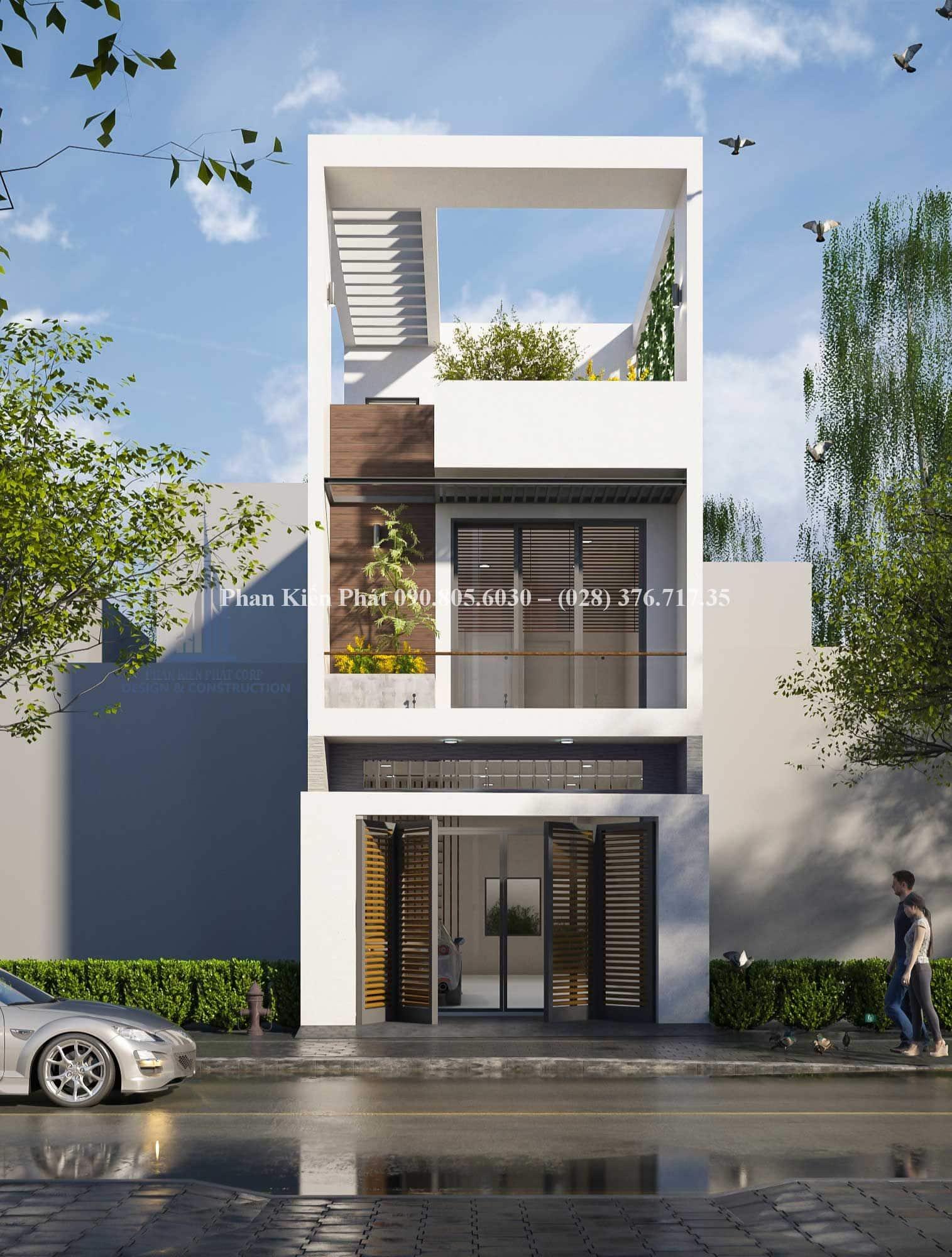 Mẫu nhà phố 3 tầng - 1 trệt 2 lầu mang một không gian xanh