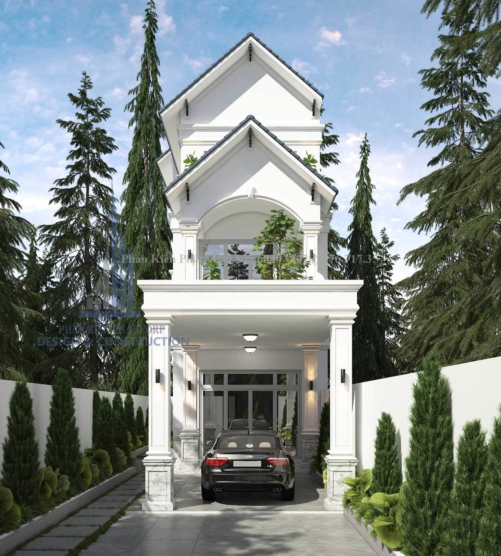 Phối cảnh mặt tiền mẫu thiết kế nhà phố 3 tầng hiện đại