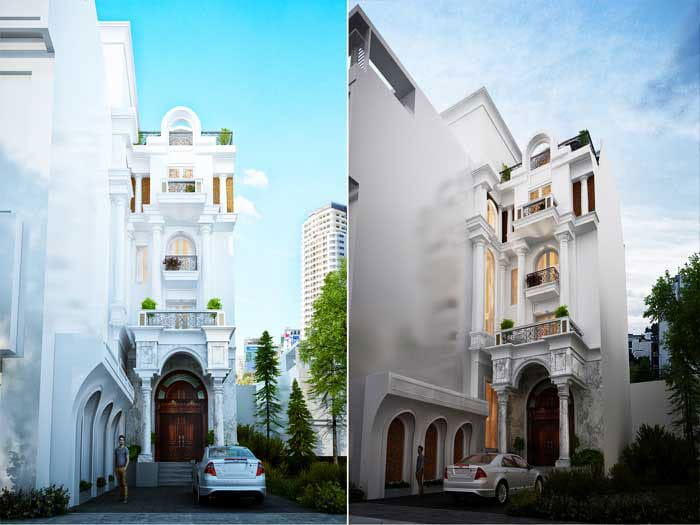 Thiết kế kiến trúc công trình biệt thự cổ điển đẹp
